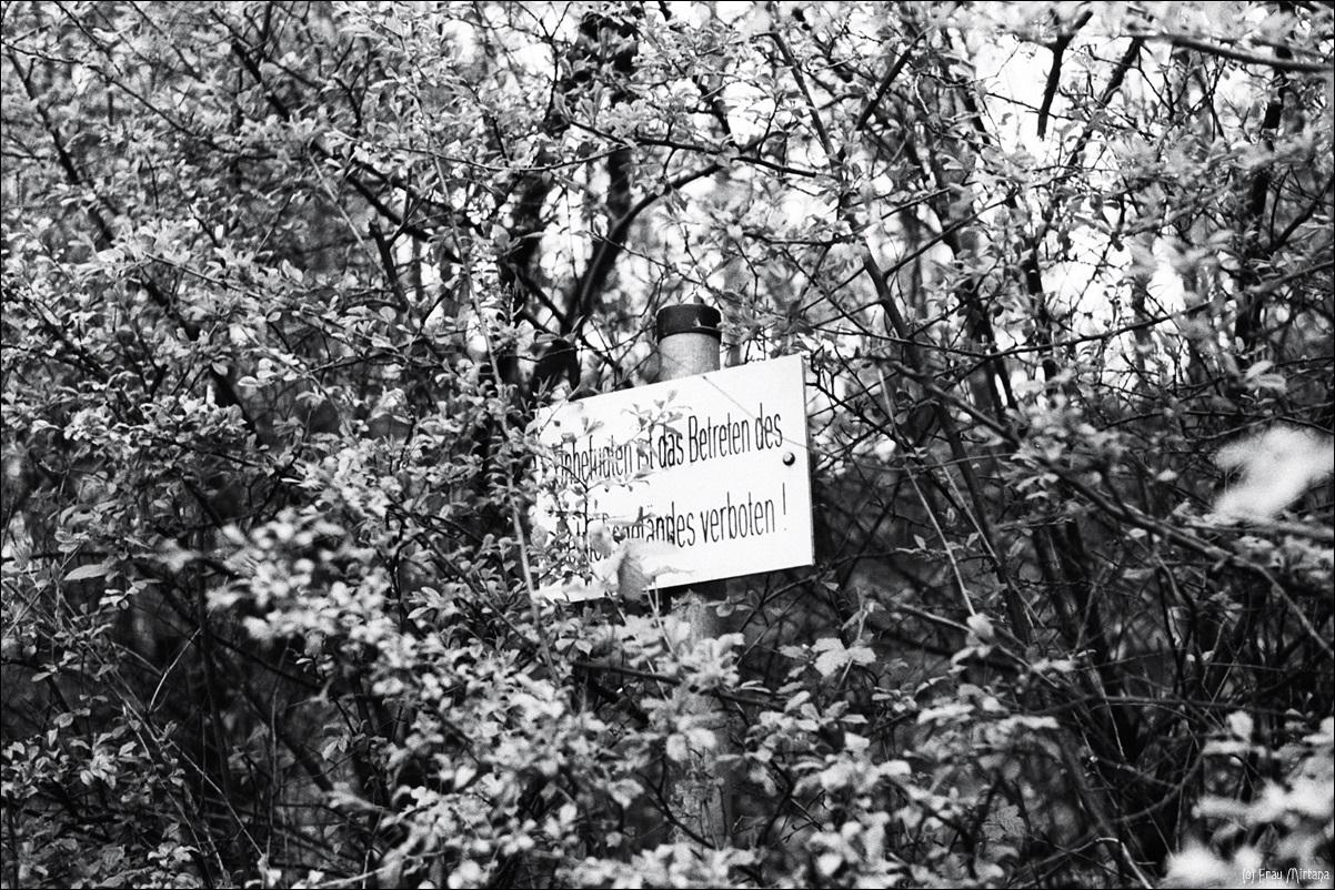 Realitätscheck; Betreten verboten; analog; schwarzweiß